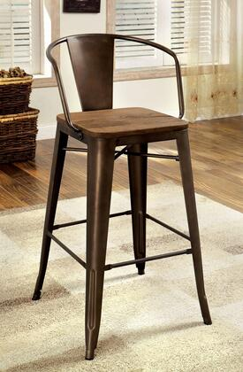 "Furniture of America Cooper II CM3529PC-XPK 26"" Counter Height Chair with Natural Wood Grain Surface and Metal Frame in Natural Elm Color"