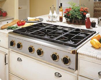 Dacor ESG366SBR  Gas Sealed Burner Style Cooktop, in Stainless Steel/Brass Trim