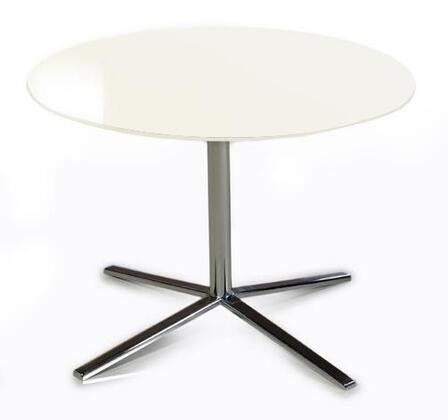"VIG Furniture VGDVT48A Versus 23"" Round End Table with Wide Stainless Steel Base and High Gloss Table Top in"