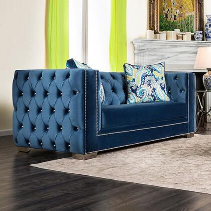 "Furniture of America Salvatore Collection SM228X-LV 70"" Love Seat with Acrylic Buttons, Nailhead Trim and Premium Velvet Fabric in"
