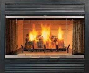 Majestic Sovereign Series SA42C 42 Inch Heat Circulating Wood Burning Fireplace with Traditional Brick Interior