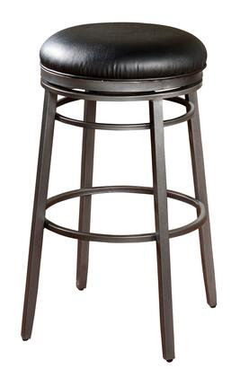 American Heritage Silvano Series 1XX923FL Transitional Backless Stool with Full Bearing Swivel and Adjustable Leg Levelers Finished in Flint with Black Vinyl