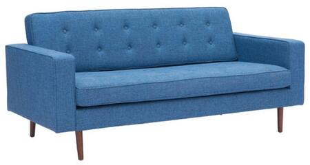 """Zuo 1002B Puget 72"""" Sofa with Tapered Legs, Piped Stitching, Button Tufting and Poly-Linen Fabric Upholstery"""