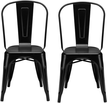 EdgeMod EM112BLKX2 Trattoria Series Modern Metal Frame Dining Room Chair
