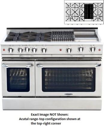 "Capital CGMR484B2L 48"" Culinarian Series Liquid Propane Freestanding Range with Open Burner Cooktop, 4.6 cu. ft. Primary Oven Capacity, in Stainless Steel"