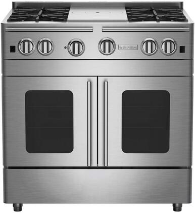 "BlueStar RNB364FTPMV2X 36"" Precious Metals Series Gas Range with 4 Burners, 12"" French Top, Continuous Cast Iron Grates and Unique French Door Extra Large Convection Oven"