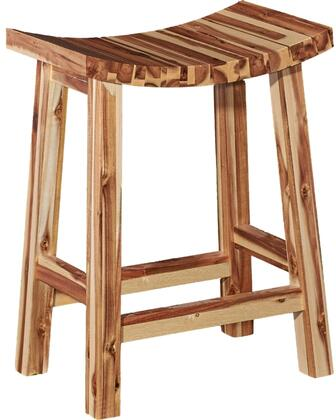 Powell Dale Collection Saddle Stool with Square Legs, Supportive Stretchers, Distressed Look and Acacia Wood Construction in Light Natural Finish