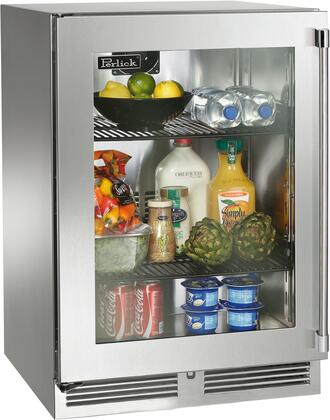 """Perlick HP24RO34x 24"""" Signature Series Outdoor Compact Refrigerator with 5.2 cu. ft. Capacity, RAPIDcool System, 1000 BTU Commercial Grade Compressor and Professional Handle, in Panel Ready with Glass Door and"""