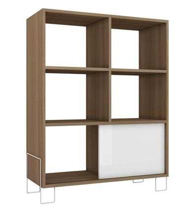 Accentuations 8AMC Accentuations by Manhattan Comfort Exquisite Boden Mid - High Side Stand with 6 Shelves and 1 Sliding Door