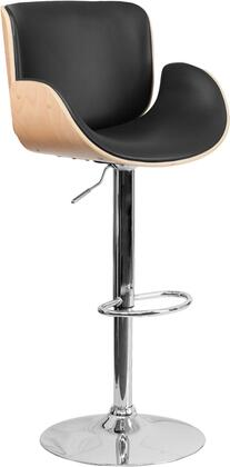 "Flash Furniture 37.25"" - 45.75"" Bar Stool with Adjustable Height, Swivel Seat, Foot Rest, Chrome Base, Beech Bentwood Frame and Vinyl Upholstery in Black Color"
