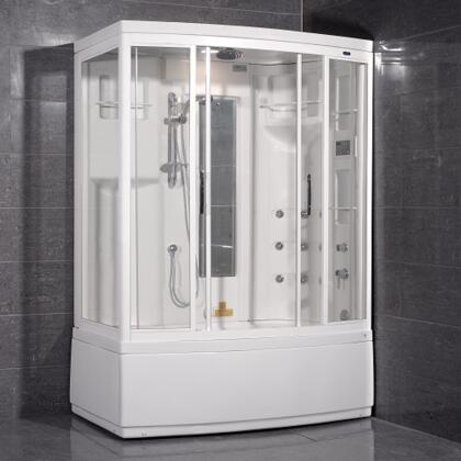 Aston Global ZAA208- Steam Shower with Whirlpool Bath, White, 9 Body Jets, 1 Built-In Seat, 12V Light, Storage Shelves, Mirror -  Hand