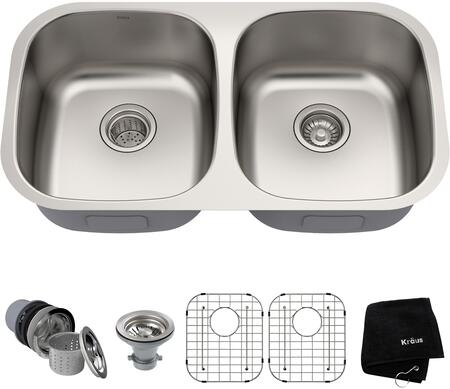Kraus KBU2B Premier Series Undermount Double-Bowl Kitchen Sink with 16-Gauge Stainless Steel Construction, NoiseDefend, and Commercial-Grade Satin Finish