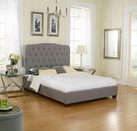 Rest Rite Lillian HC8954Ax Upholstered Platform Bed with Tufted Headboard, Linen Material and Modern Style in Grey
