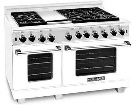 American Range ARR4842GDLW Heritage Classic Series Liquid Propane Freestanding Range with Sealed Burner Cooktop, 4.8 cu. ft. Primary Oven Capacity, in White