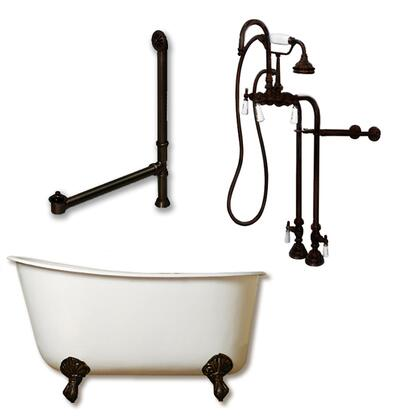 """Cambridge SWED54398684PK Cast Iron Swedish Slipper Tub 54"""" x 30"""" with no Faucet Drillings and Complete Free Standing English Telephone Style Faucet with Hand Held Shower Assembly Plumbing Package"""