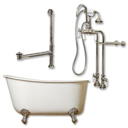 "Cambridge SWED54398684PK Cast Iron Swedish Slipper Tub 54"" x 30"" with no Faucet Drillings and Complete Free Standing English Telephone Style Faucet with Hand Held Shower Assembly Plumbing Package"