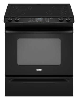 Whirlpool GY397LXUB Gold Series Slide-in Electric Range with Smoothtop Cooktop, 4.5 cu. ft. Primary Oven Capacity, Storage in Black