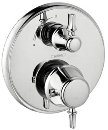Hansgrohe 4221 Double Handle Thermostatic Valve Trim with Metal Lever Handles and Volume Control and Diverter: