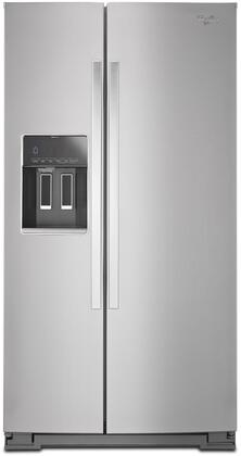"Whirlpool WRS586FIE 36"" Side-by-Side Refrigerator with 26 cu. ft. Capacity, Accu-Chill Temperature Management, In-Door-Ice System, Frameless Glass Shelves and Exterior Ice/Water Dispenser in"