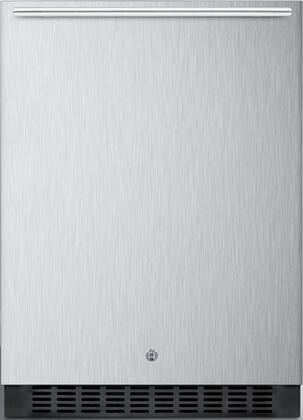 "Summit SPR627OSC 24"" Built In/Freestanding Outdoor Refrigerator with Fully Finished Cabinet, Factory Installed Lock, Frost-Free Operation, and Digital Thermostat in Stainless Steel:"