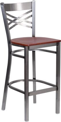 """Flash Furniture Hercules Collection 29"""" Bar Stool with """"X"""" Back Design, 18 Gauge Steel Clear Coated Frame, Footrest, Plastic Floor Glides and .625"""" Thick Plywood Seat in"""