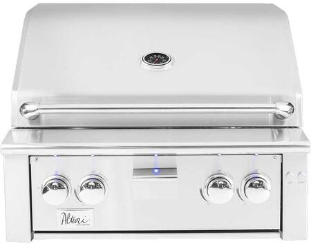 """Summerset Grills ALT30 30"""" Alturi Series Built-In Grill with 2 Main Burners and a Smoker Burner, 59000 Surface BTU, 18000 BTU Infrared Burner, 780 sq. in. Cooking Area, LED Front Panel Lighting, in Stainless Steel"""