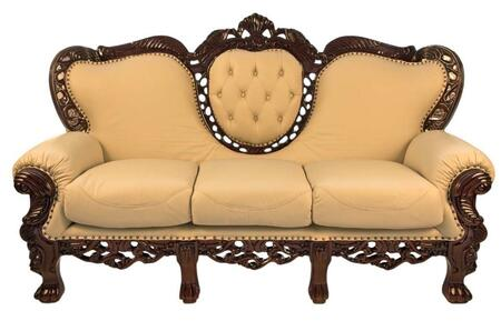 J. Horn 701S Traditional Style Sofa with Genuine Italian Leather Upholstery and Solid Wood Frame