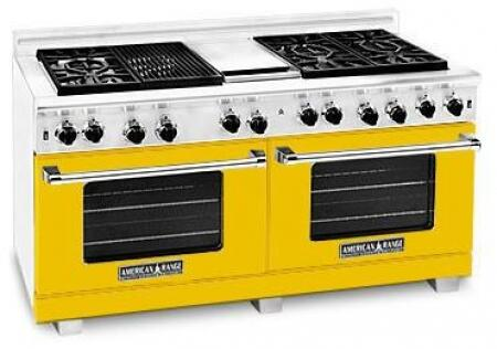 American Range ARR6062GDLYW Heritage Classic Series Liquid Propane Freestanding Range with Sealed Burner Cooktop, 4.8 cu. ft. Primary Oven Capacity, in Yellow