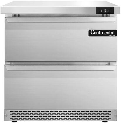 """Continental Refrigerator SWF32F 32"""" Worktop Freezer with 7.4 Cu. Ft. Capacity, Front Breathing Compressor, Aluminum Interior, Interior Hanging Thermometer, and Environmentally-Safe Refrigerant, in Stainless Steel"""