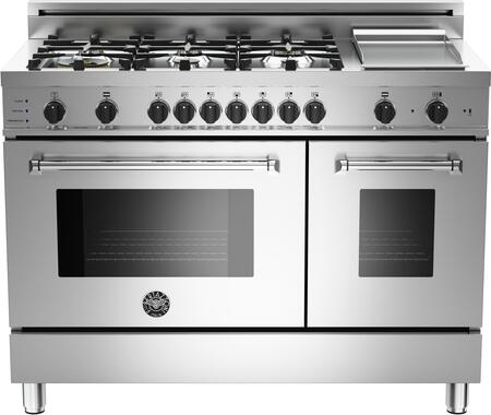"Bertazzoni Master MAS486GDFSXF 48"" Dual-Fuel Self-Clean Range with 6 Brass Burners, Electric 1100W Stainless Griddle, 3.4 cu. ft. Electric Self-Clean Convection Main Oven and 1.7 cu. ft. Auxiliary oven, in Stainless Steel"