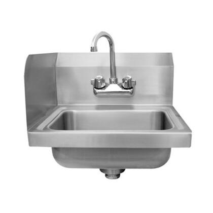 Advance Tabco 7-PS-EC-SP Economy Wall Mounted Hand Sink with Heavy Duty Splash Mount Gooseneck Faucet and Single Side Splash