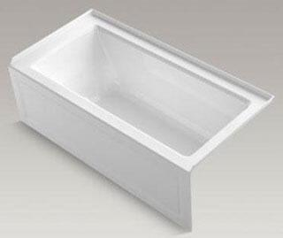 "Kohler K-1947-GRA- Archer 60"" x 30"" Alcove BubbleMassage Air Bath with Integral Apron and Right-Hand Drain in"