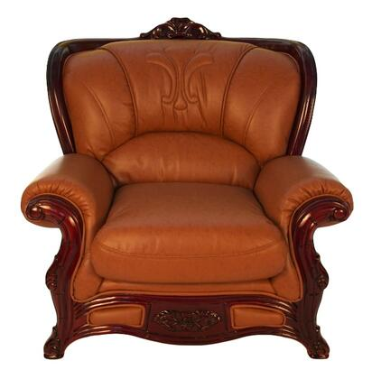 J. Horn 989BROWNC 989 Series Leather Armchair with Wood Frame in Brown
