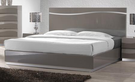 Chintaly DELHIBED DELHI Bed with Headboard, Footboard, Side Rails and Bed Slats in Gloss Grey Finish