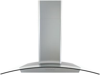 "Zephyr BMI-E30BGX 30"" Brisas Series Chimney Style Wall Mounted Range Hood with XX CFM Internal Blower, Curved Glass Canopy, 3 Speed Push Button Controls, in Stainless Steel"