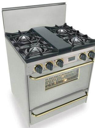"""FiveStar TPN2607BSW 30"""" Gas Freestanding Range with Open Burner Cooktop, 3.69 cu. ft. Primary Oven Capacity, Broiler in Stainless Steel with Brass"""