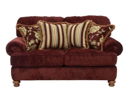 """Jackson Furniture Belmont Collection 4347-02- 71"""" Loveseat with Chenille Fabric Upholstery, Reversible Box Welted Seat Cushions and Four Pillows in"""