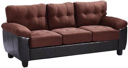 """Glory Furniture 78"""" Sofa with Tufted Cushions, Pillow Top Arms, Tapered Legs, Removable Backs, Suede and PU Leather (Bycast) Upholstery in"""