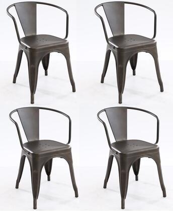 EdgeMod EM113BRZX4 Trattoria Series Modern Metal Frame Dining Room Chair
