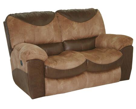 """Catnapper Portman Collection 1962- 67"""" Reclining Loveseat with Faux Leather Upholstery, Patchwork Design and Luggage Stitching in Saddle and Chocolate"""