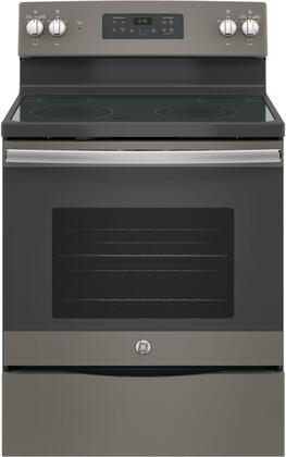 "GE JB645 30"" Star K Freestanding Electric Range with 4 Radiant Elements, 5.3 cu. ft. Oven Capacity, Ceramic Glass Cooktop, Storage Drawer, Dual Element Bake and Self Cleaning Oven:"