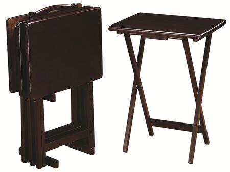 Coaster 90108 Tray Tables 5 Piece Tray Table Set (Set of 4 Tray Tables and 1 Stand) Constructed from Wood Veneers & Solids in Finish