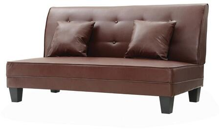 """Glory Furniture Newbury Collection 61"""" Armless Loveseat with 2 Throw Pillows, Tapered Legs, Button Tufted Back and Faux Leather Upholstery in"""