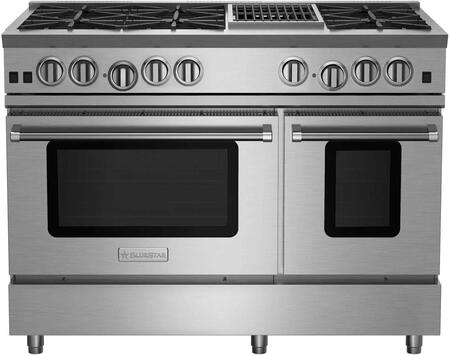 """BlueStar RNB486CBV RNB Series 48"""" Freestanding Gas Range with 6 Cast Iron Open Burners, 4.5 Cu. Ft. Convection Oven, 12"""" Charbroiler, Simmer Burner, Full Motion Grates and Stainless Steel Drip Trays"""