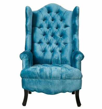 TOV Furniture Madison TOVA35 Velvet Wing Chair with Tufted Seat and Back, Kiln Dried Wood and Solid Wood Frame in