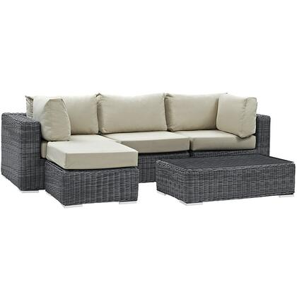 Modway Summon Collection EEI-1904- 5-Piece Outdoor Patio Sunbrella Sectional Set with Armless Chair, Coffee Table, Ottoman and 2 Corner Sections in