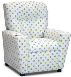"""Kidz World 13001 Juvenile """"Mixy"""" Kid's Recliner with Cup Holder, Ottoman, Soft Densified Fiber Upholstery and Hardwood Frame in"""