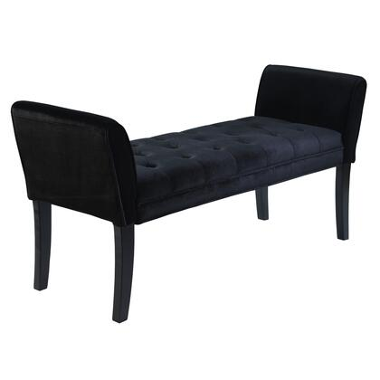 Armen Living LC0845BE-X Chatham Bench with Button Tufting Seat, Tapered Legs, Velvet Upholstery and Polyester Content in