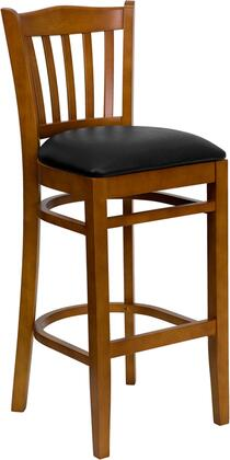 "Flash Furniture HERCULES Series XU-DGW0008BARVRT-CHY-XXV-GG 31"" Cherry Finished Vertical Slat Back Wooden Restaurant Bar Stool with Vinyl Seat, Commercial Design, Foot Rest Rung, and Plastic Floor Glides"