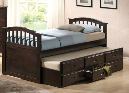 Acme Furniture 0499X San Marino Twin Captain Bed & Trundle w/3 Drawers, D-Walnut